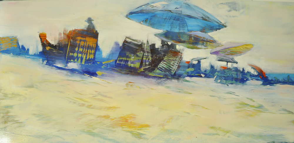 """Beach Life, Umbrella Triad"", oil on anodized aluminum, 24x48"
