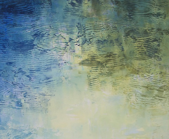 """Wellspring April"", monoprint, 24x48 image size, 23x30 framed, $1,400"