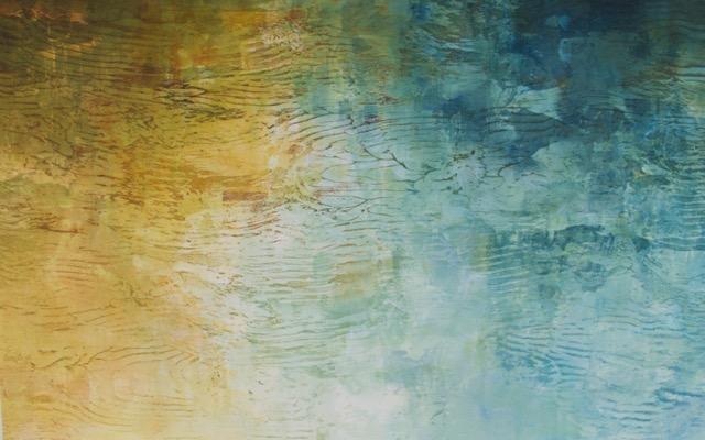 """Wellspring Daybreak"", monoprint, 19x25 image, 21x30 framed, $950"