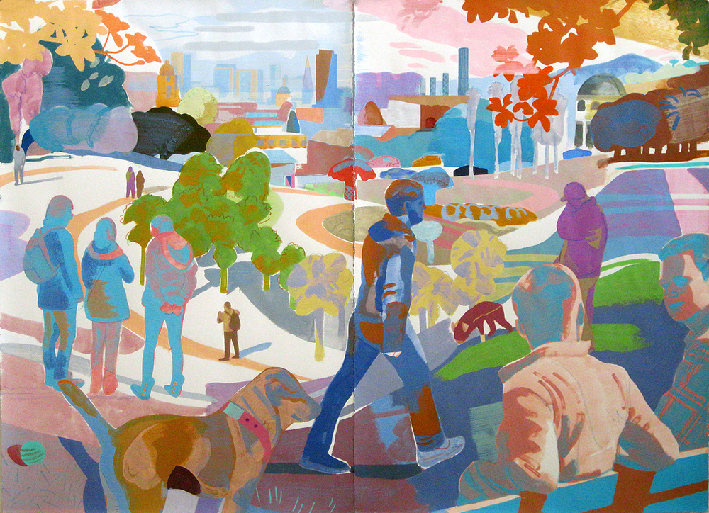 Justin Kim,  Dolores Park, San Francisco, mixed media on paper, 44 x 60""