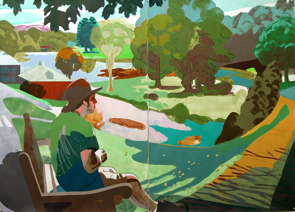 "Justin Kim, ""Paradise Pond, Smith College, Northampton, Ma"", mixed media on paper, 44x60, $3400"