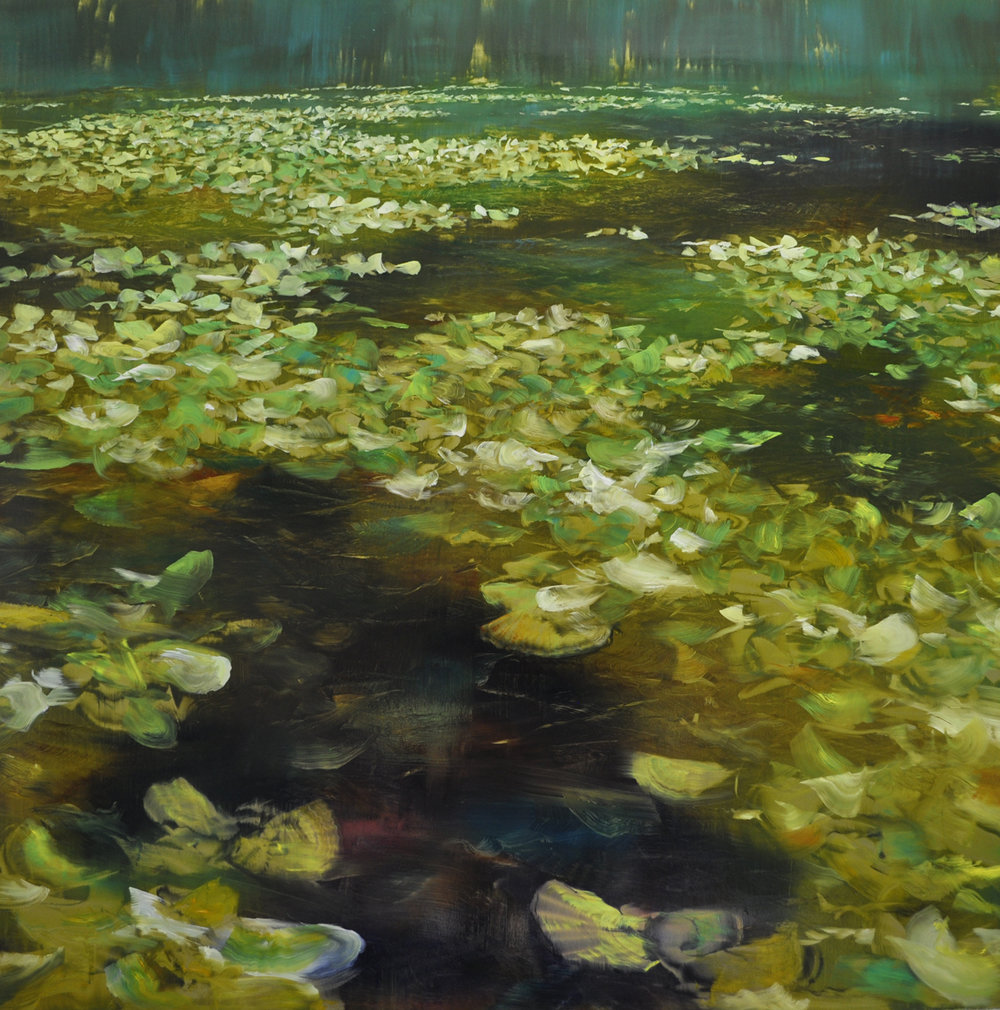"""Lily Pads"", oil on brushed gold anodized aluminum"", 48x48"