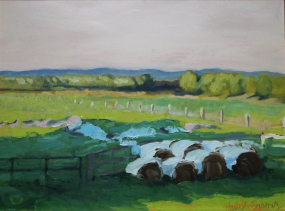 """Round Bales and Shaded Pasture (View From Artist's Studio), oil on panel."