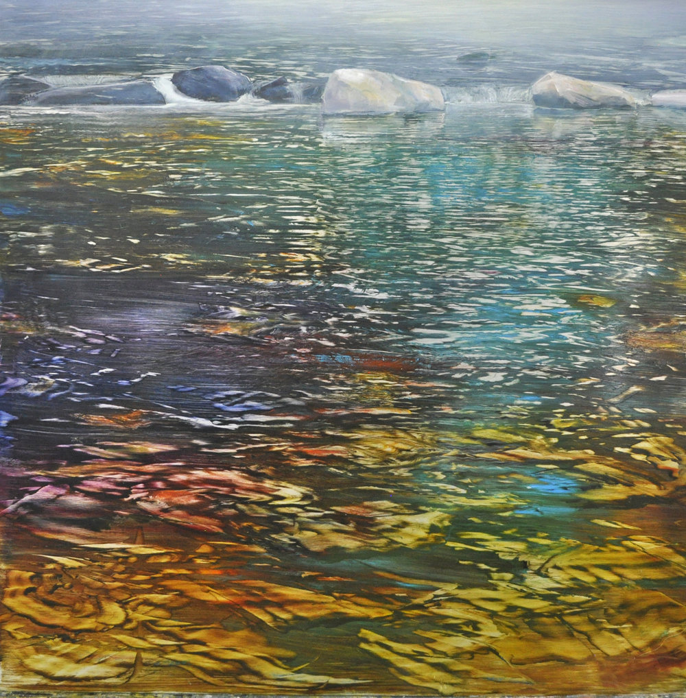 """David Dunlop, """"Silver Mist and Reflections"""", oil on brushed silver enameled aluminum, 36x36, $6,500"""