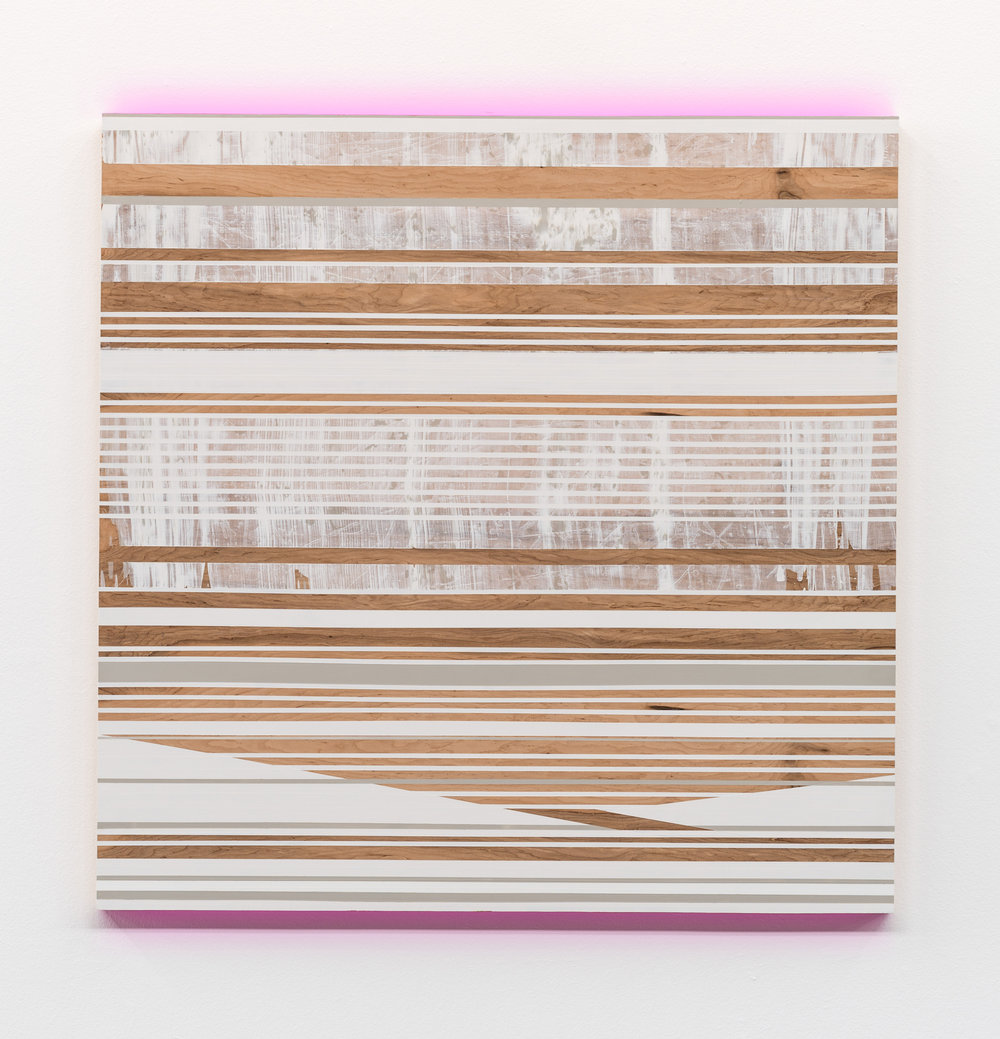 "Michele Kishita, ""Nor-easter"", latex on birch panel, 47.5x47.5, $6,500"