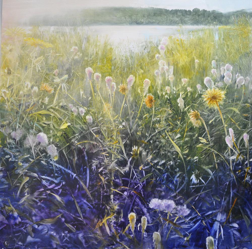 """""""Lakeside Morning"""", oil on enameled aluminum, 48x48, $15,000"""