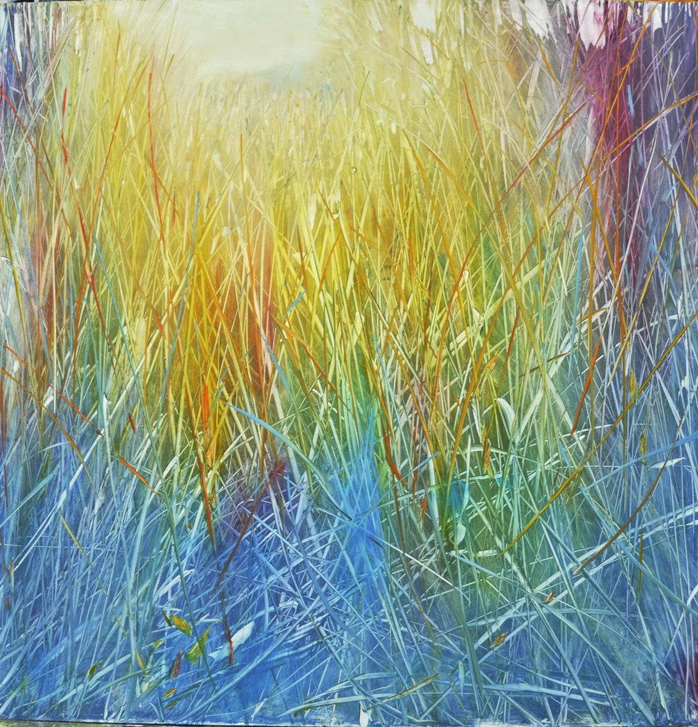 """Meadow Spectrum"", oil on enameled aluminum, 36x36, $6,500"