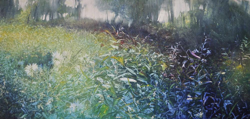 """Randall Farm Wildflower Meadow"", oil on enameled aluminum, 12x24, $1,600"
