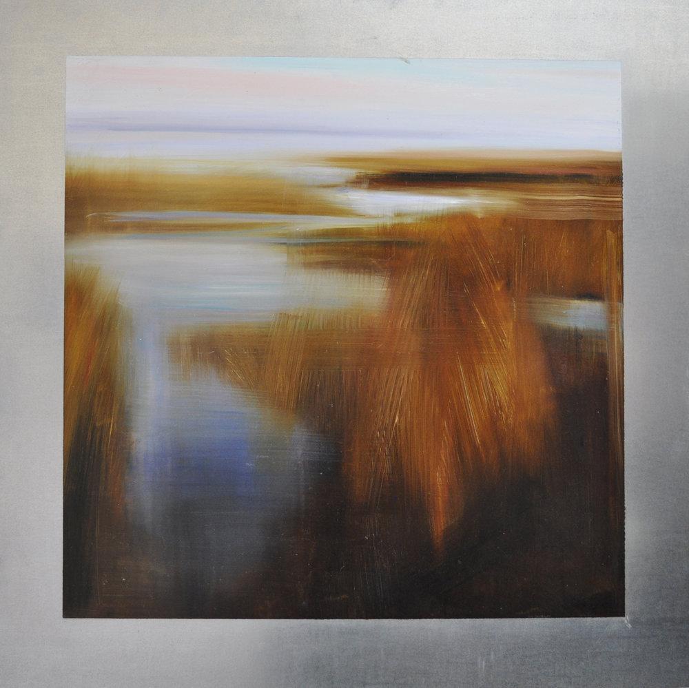 """Subtle Shoreline"", oil on steel, 36x36, $6,500"