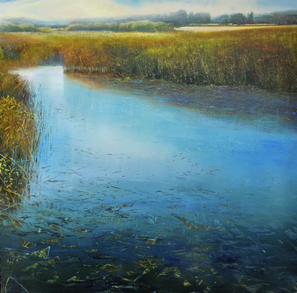 """Tidewater Through Salt Hay"", oil on enameled aluminum, 48x48, $15,000"
