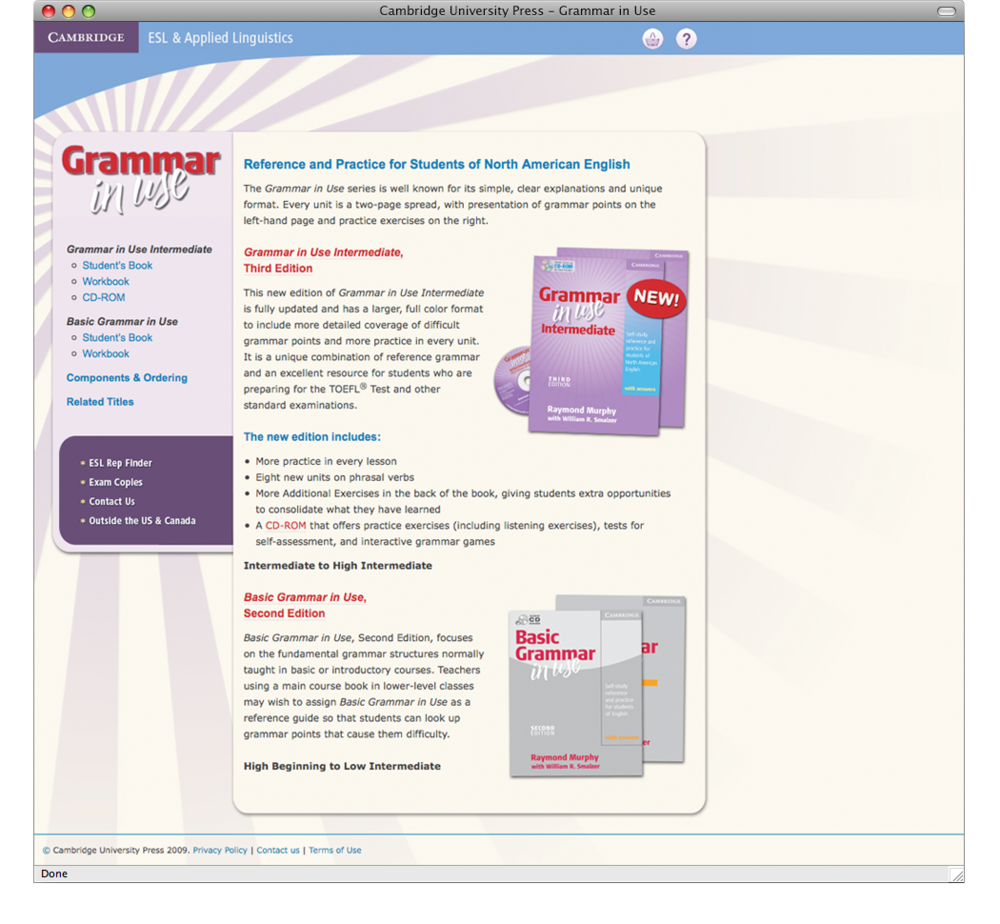 While working on the site replacement project, we also needed to create mini-sites for projects released before the launch. This mini-site for a new edition of a grammar title was created to stand alone but taps into key sections of the main site.
