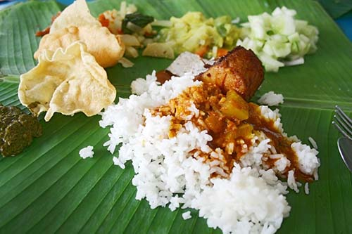 Rice & Curry on Banana Leaf