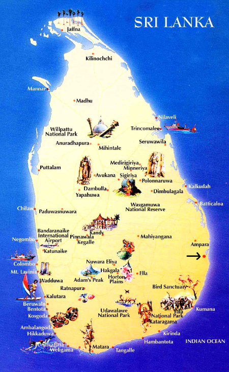 Map of Sri Lanka and Locations of Interest