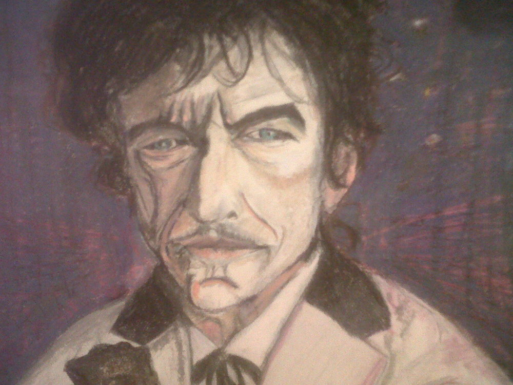 One of the latest Bob Dylan oil pastels I've done. Gotta get working on some new ones now that he shaved his mustache for the first time in more than a decade I think. (Copyright Jeff Schwachter)