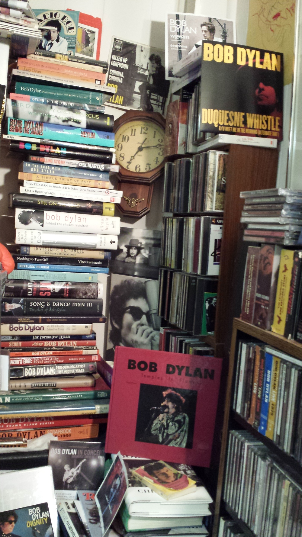 Junk's piling up; taking up space: Some of my Dylan collection.  Below are close-ups of some of my Dylan books.