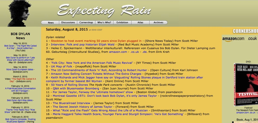 Aug 8, 2015: As seen on Expecting Rain site, the world's most viewed Bob Dylan fan site and the best of them all. Go ahead and click on the image to read the story from Shore News Today.