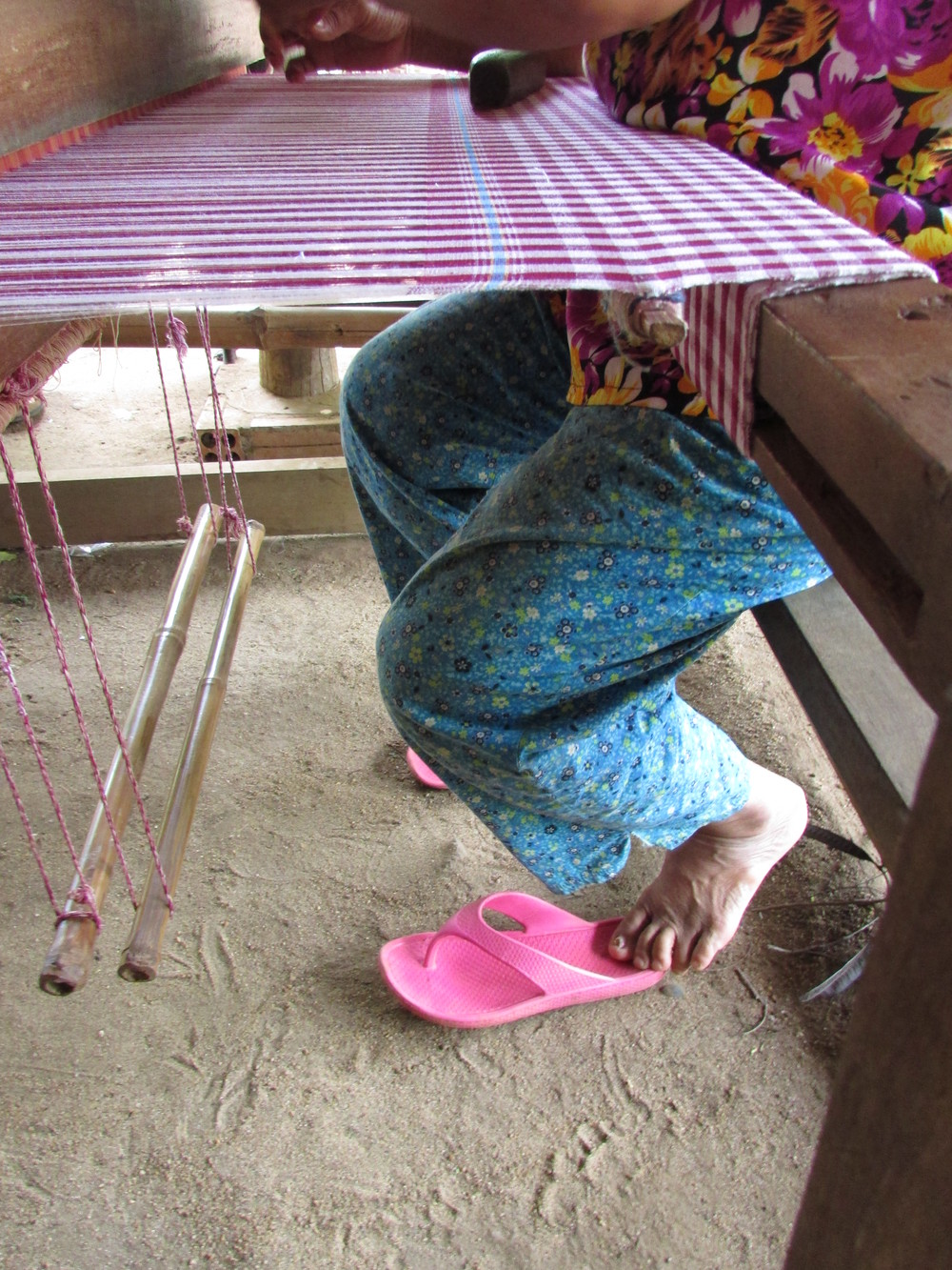 A krama weaver we visited in a village outside Kampong Cham, Cambodia. Krama are the traditional all-purpose wraps.