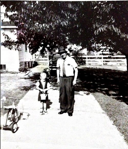 "Howard with his maternal grandfather, a tailor. Howard says: ""He died in 1965 when I was 8 years old. He would get on his treadle sewing machine and whip me up custom fitted clothes — I still have two vests he made for me. No pattern. I always felt he was magic."""