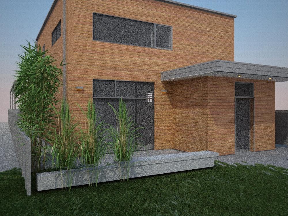 Exterior rendering studies denver modern for Modern home exterior finishes
