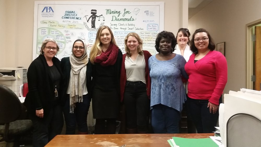 From left to right: Kathleen Legendre, Aroosa Nizami, Dasha Makarenko, Mary Frances Richardson, Zakiya LaGrange, Jenny Abshier, and Gabriela Brito. Students from American University Washington College of Law.