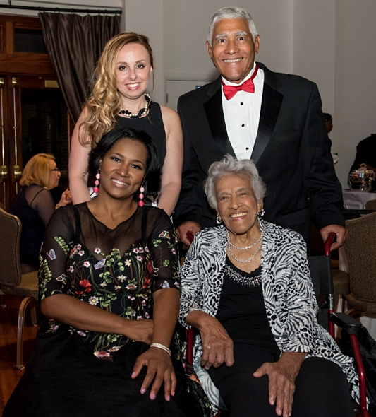 At the 2017 JFAB (l to r): The Project's Executive Director Jennifer Rizzo-Choi, Edgar 'Dooky' Chase, III, JFAB Committee Chair Dana Douglas and Honorary Chair Chef Leah Chase