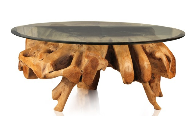 Authentically sculpted teak root coffee table