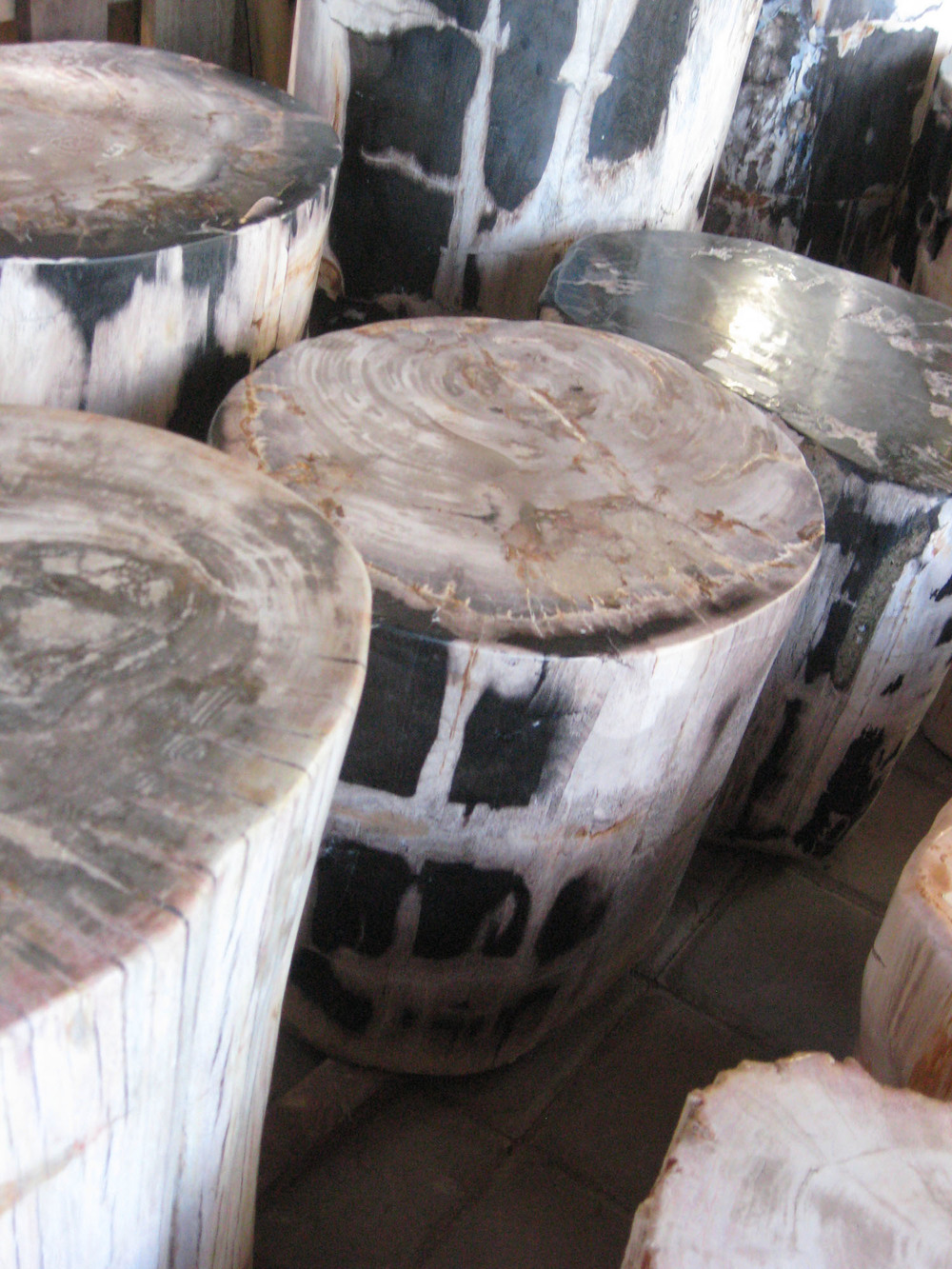petrified wood stools / end tables