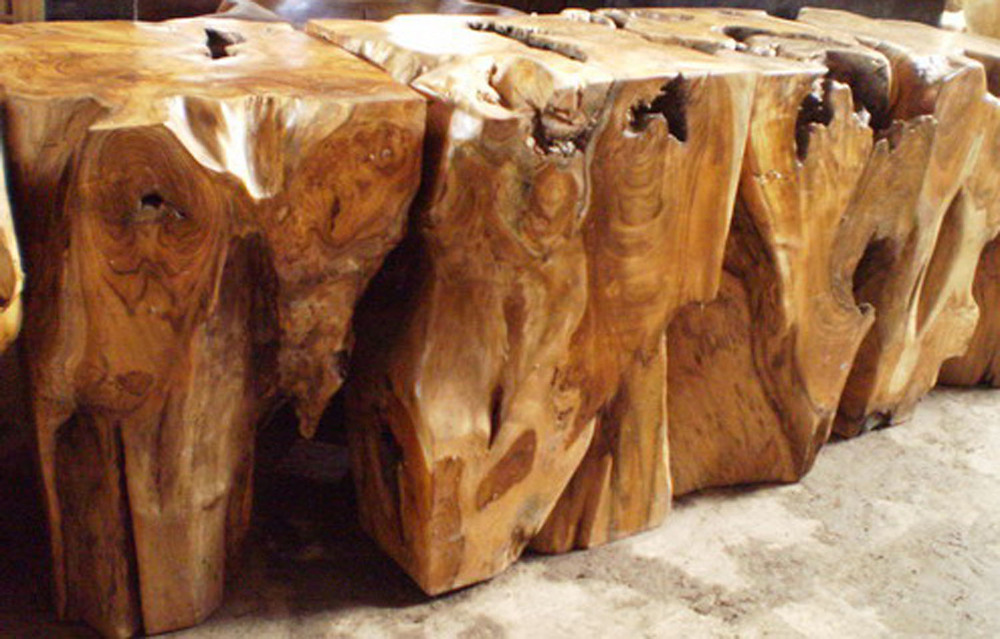 Sculpted Teak Root Cubes