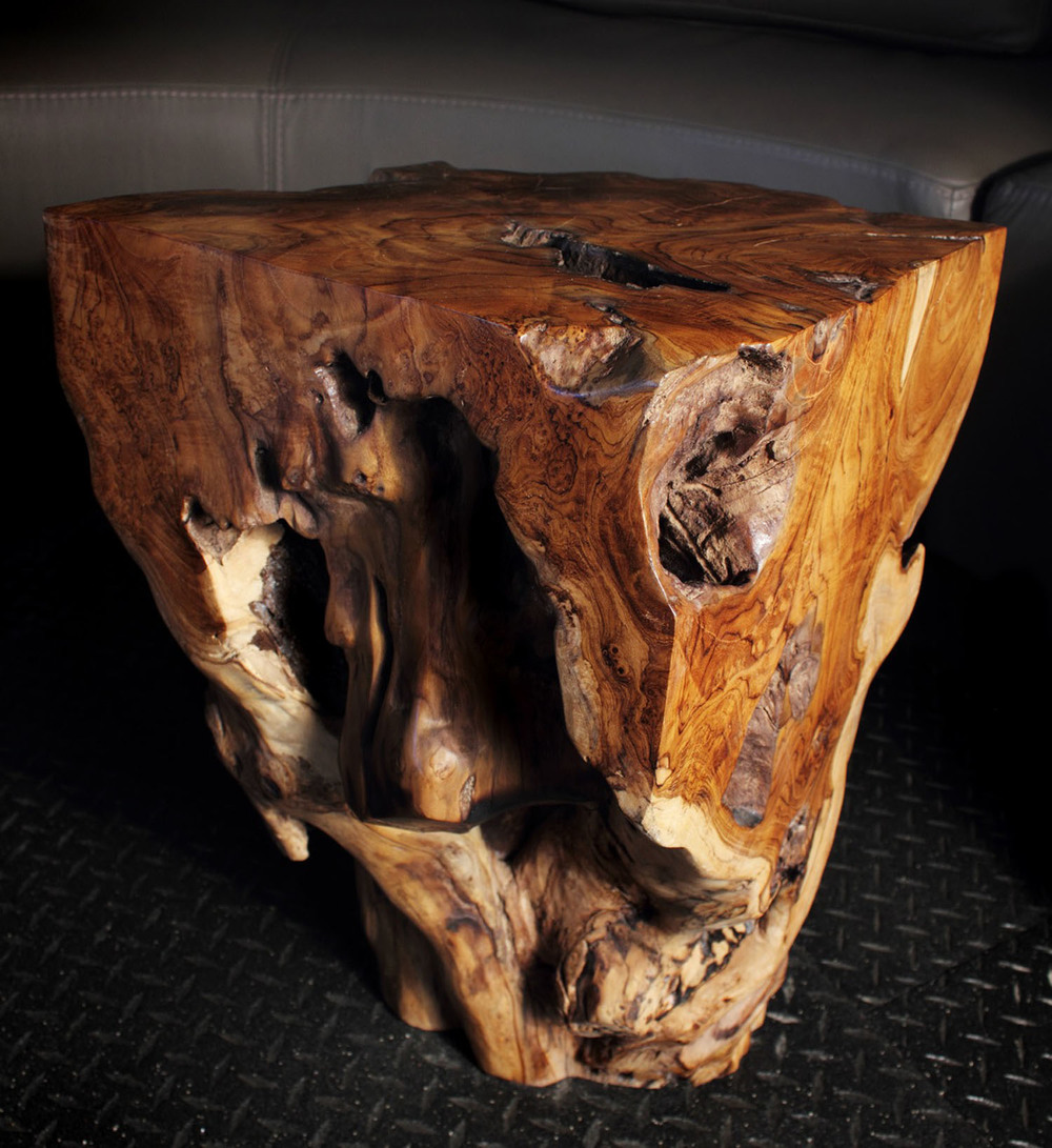 Sculpted Teak Root End Table