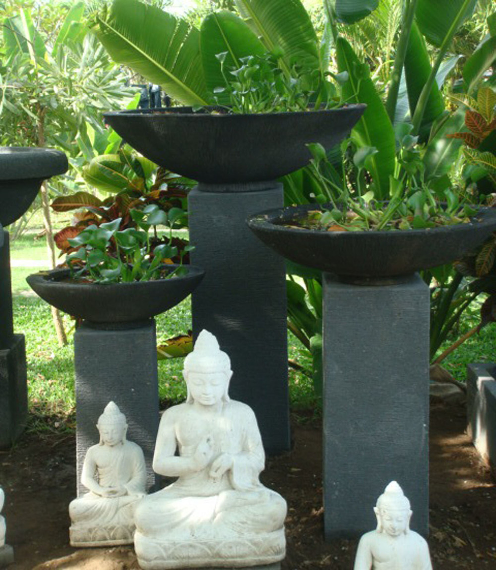 Cement Pots on Stands + Limestone Buddhas