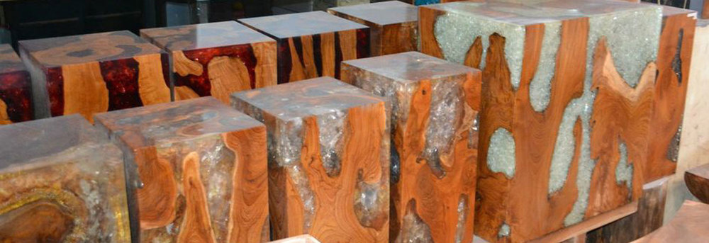 Enveloped Teak and Resin Cubes