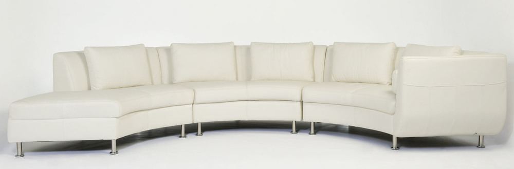 Cocoon I Sectional in white leather.