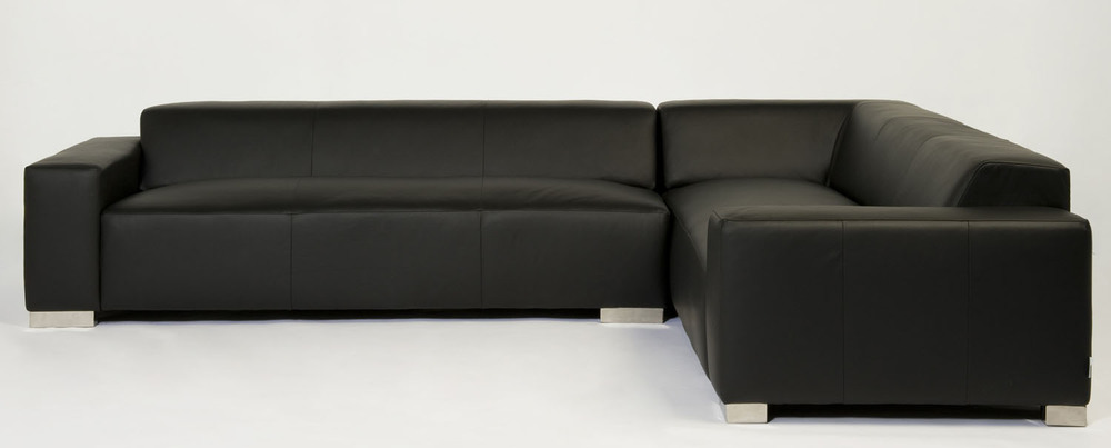 Coast Sectional Black Leather Sectional. Blue Moon Furniture store in winnipeg.