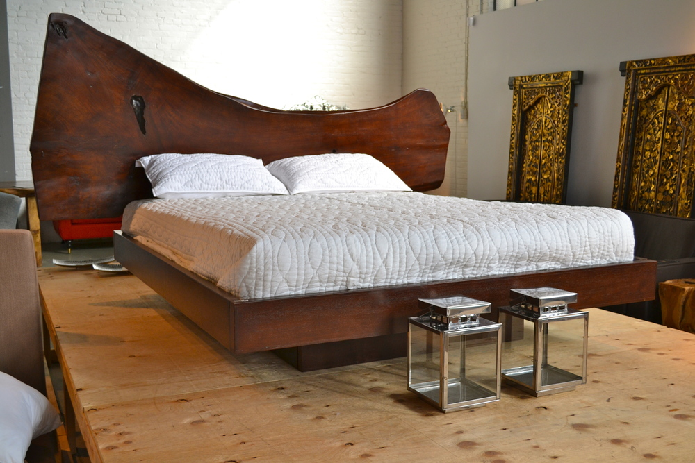 majestic live edge free form solid wood bed