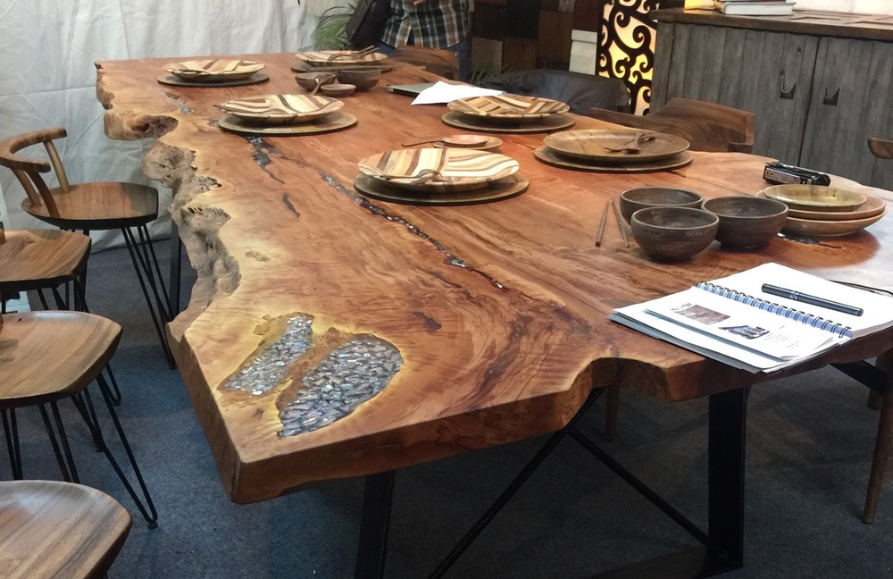 lychee wood single slab free form dining table with resin
