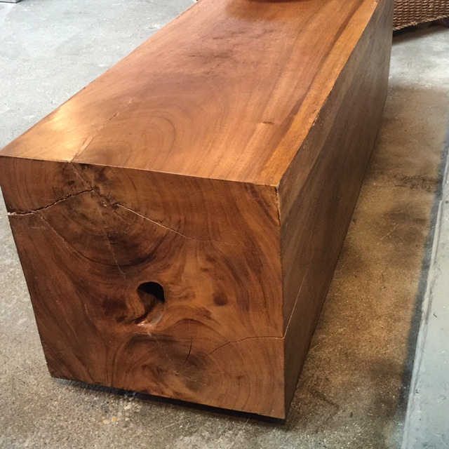 squared wood bench