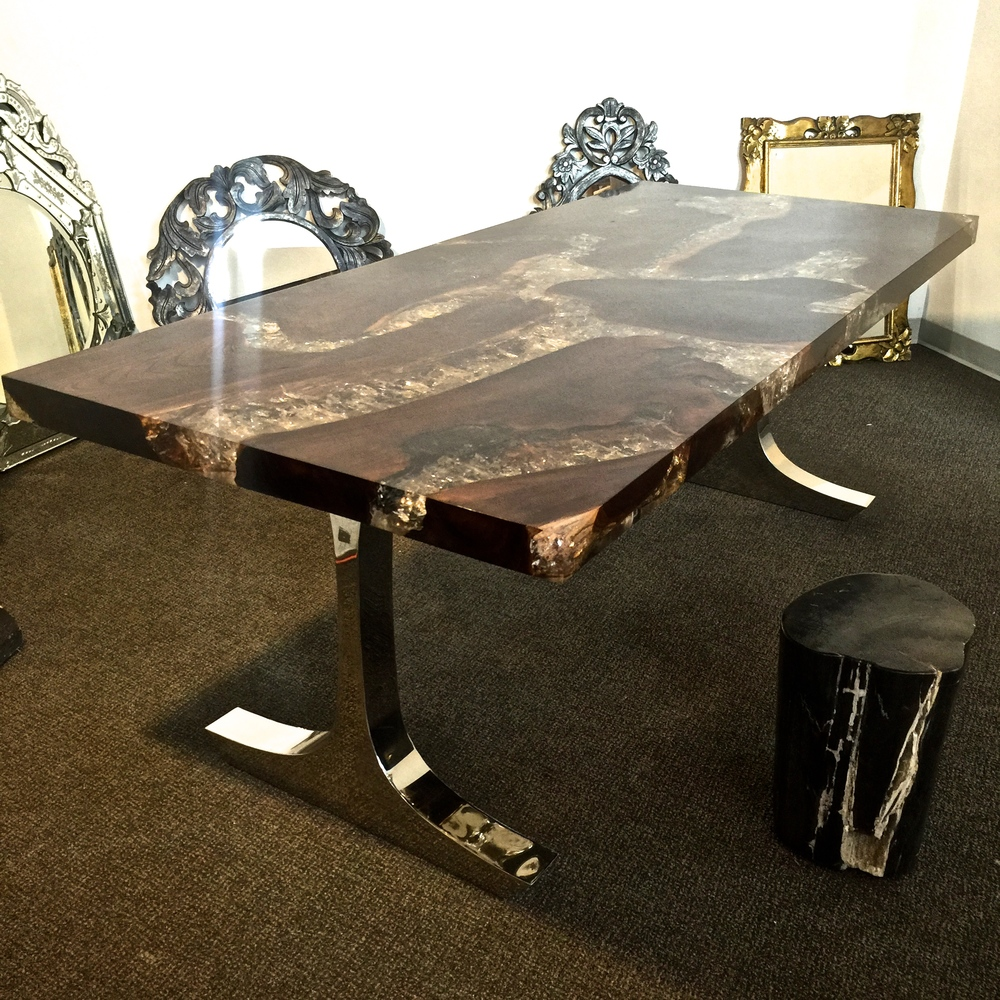Teak Root and Resin Table with Stainless Steel Base