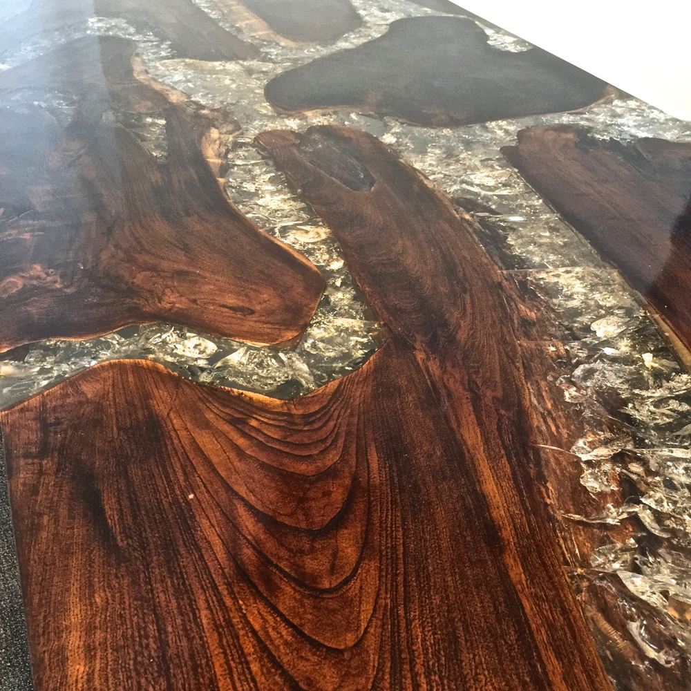 Teak Root and Resin Table Top