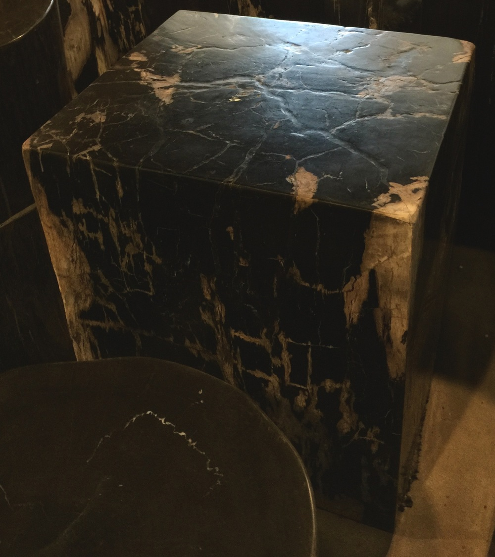 petrified wood furniture, cube
