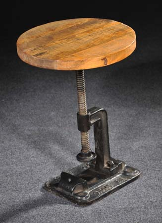 crank stool, industrial metal and wood stool