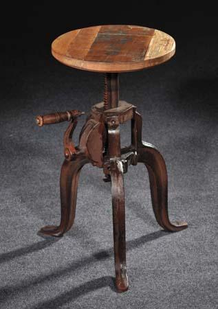 crank industrial stool. metal and wood industrial stool