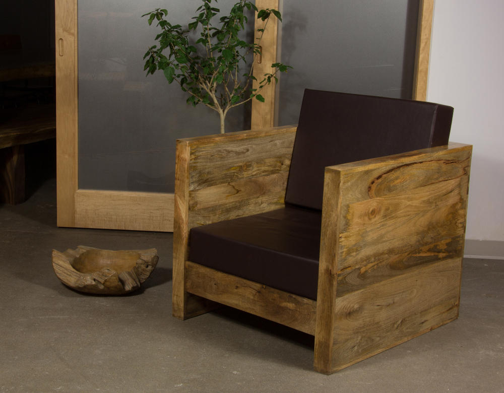 cube chair. wood chair with cushions. industrial furniture