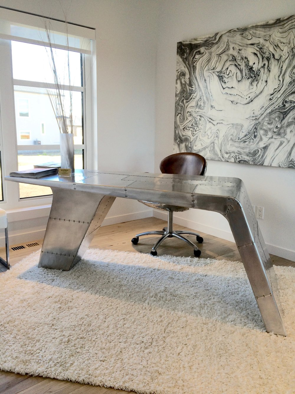 aviator desk metal modern