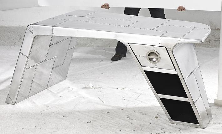 RT012 Aircraft desk - Jet Silver 战斗机办公台-土豪银色古式拼接金属 (1).jpg