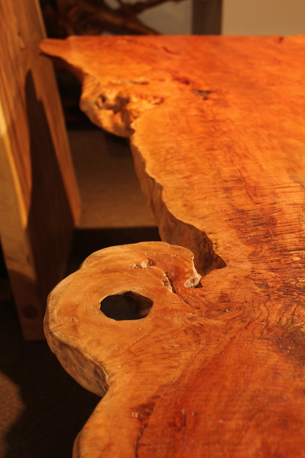 single slab live edge solid wood furniture, dining table, desk, coffee table, bench furniture store winnipeg