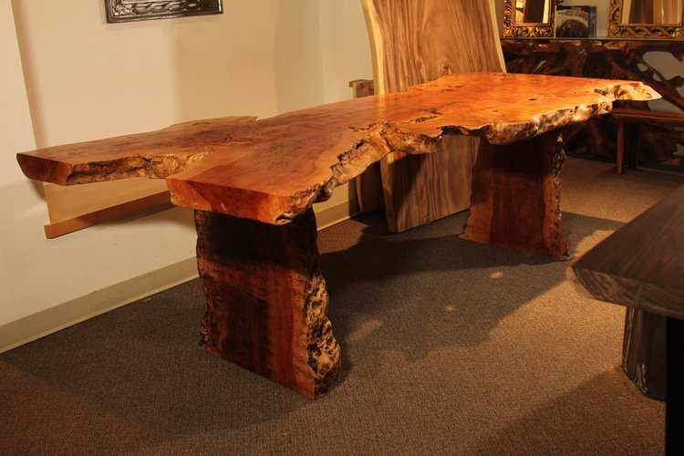 exotic lychee wood live edge dining table