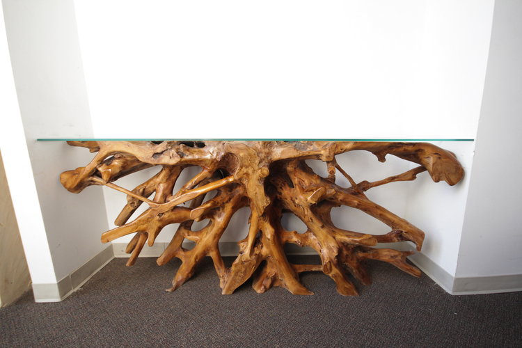 teak root console table with glass top