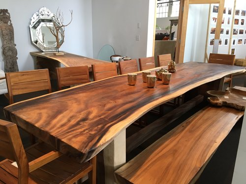 live edge, free form dining table