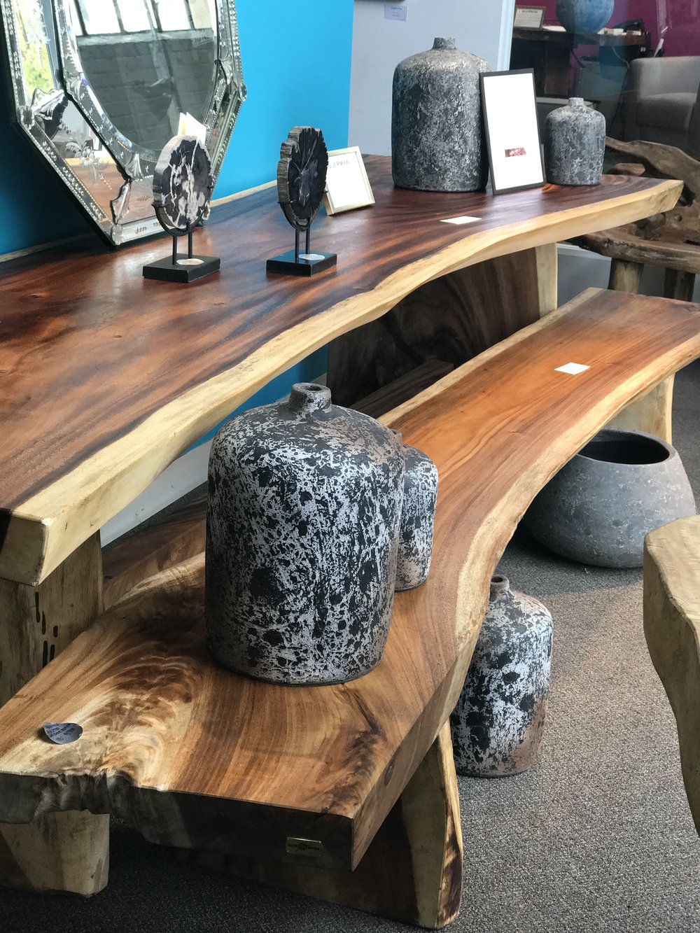 Majestic Live Edge DIning table. Single slab wood dining table. Blue Moon Furniture Store, Winnipeg, Manitoba, Canada. Modern, Contemporary cool luxury furniture. Local design,.JPG