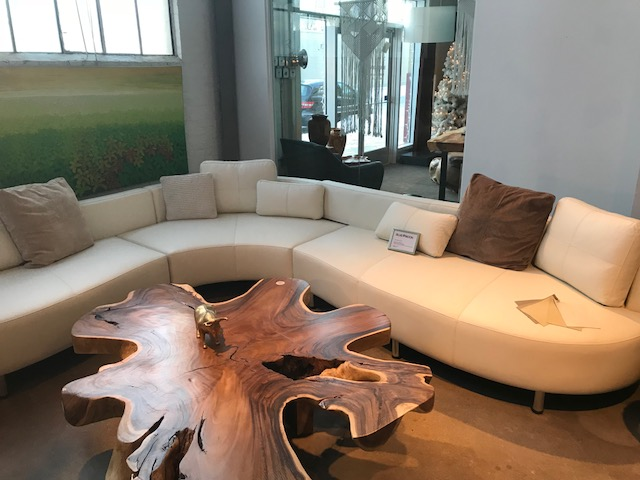 Take a look at this incredible coffee table. It features an exotic free from shape and stunning grain. This is truly a one-of-a-kind beauty.